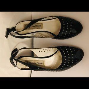 Evan Picone Shoes - Evan Picone Black Patent Open Toe Heels 7 1/2M